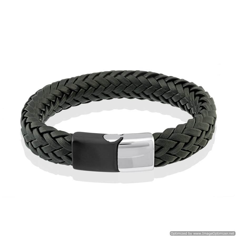 Mens Woven Black Leather Bracelet SLB178 - Fifth Avenue Jewellers