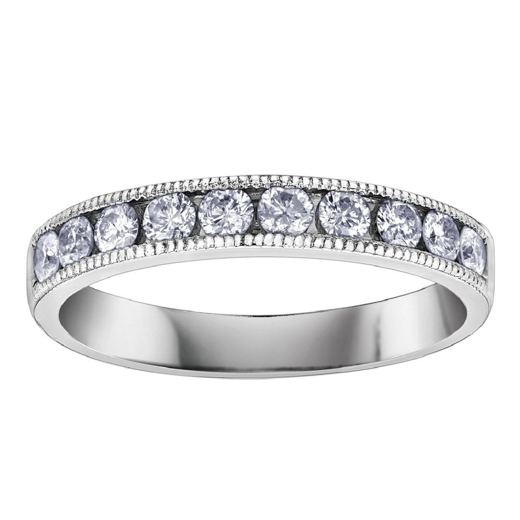 Milgrain Charm Diamond Ring in White Gold - Fifth Avenue Jewellers