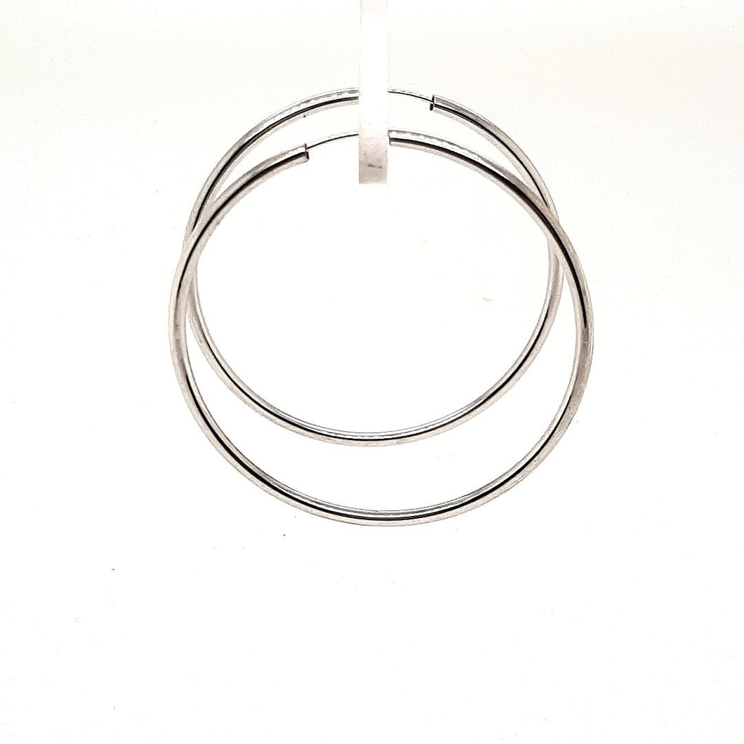 Minimalist White Gold Hoops - Fifth Avenue Jewellers