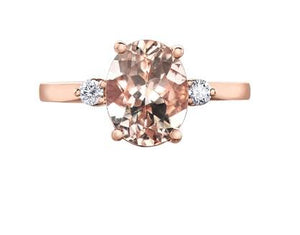 Morganite Solitaire With Diamond Accents - Fifth Avenue Jewellers