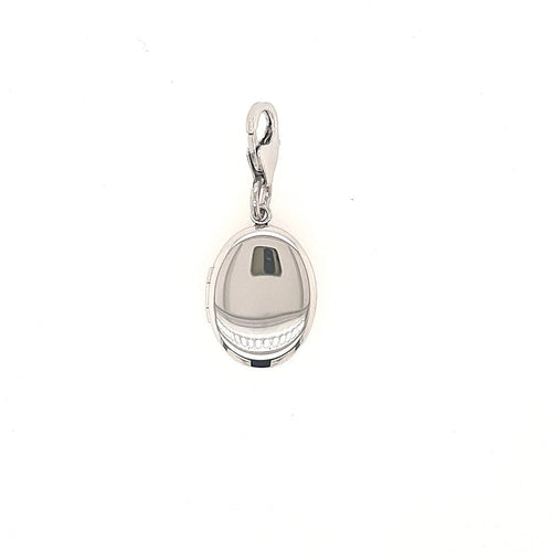 Oval Locket Charm In Sterling Silver - Fifth Avenue Jewellers