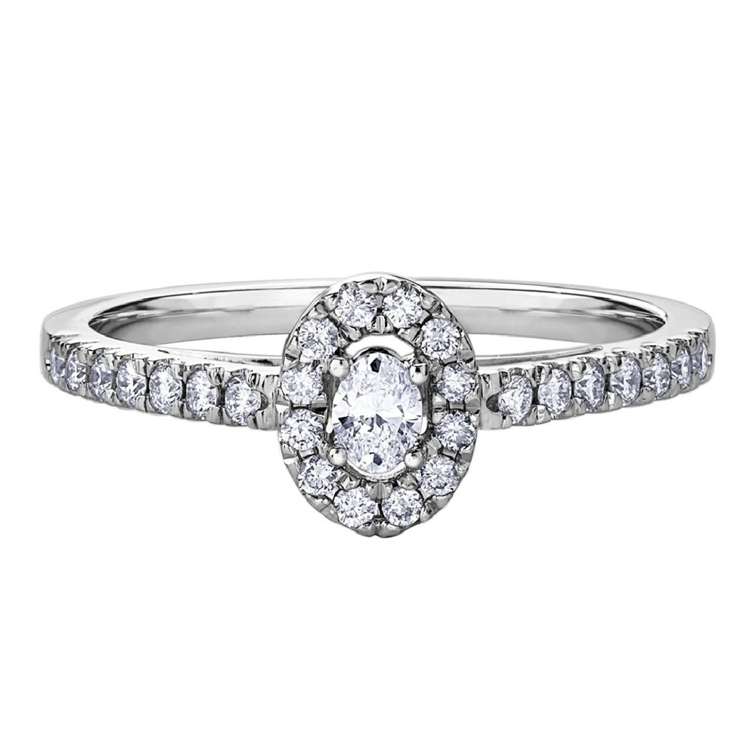 Oval Shaped Diamond Ring in White Gold - Fifth Avenue Jewellers