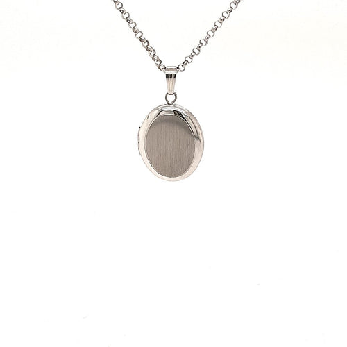 Oval Textured Locket In Sterling Silver - Fifth Avenue Jewellers
