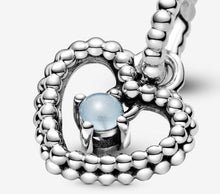 Load image into Gallery viewer, Pandora December Sky Blue Beaded Heart Dangle Charm - Fifth Avenue Jewellers