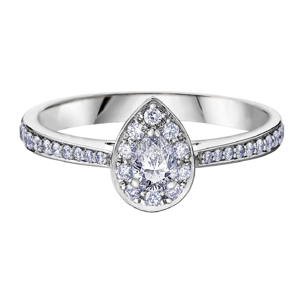 Pear Shaped Halo Diamond Engagement Ring - Fifth Avenue Jewellers