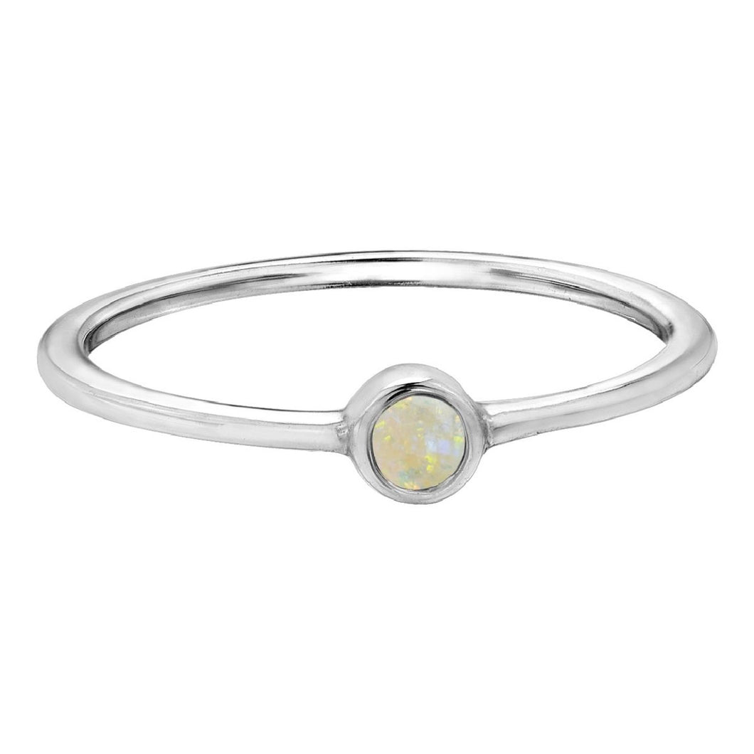 Petite Opal Birthstone Ring in White Gold - Fifth Avenue Jewellers