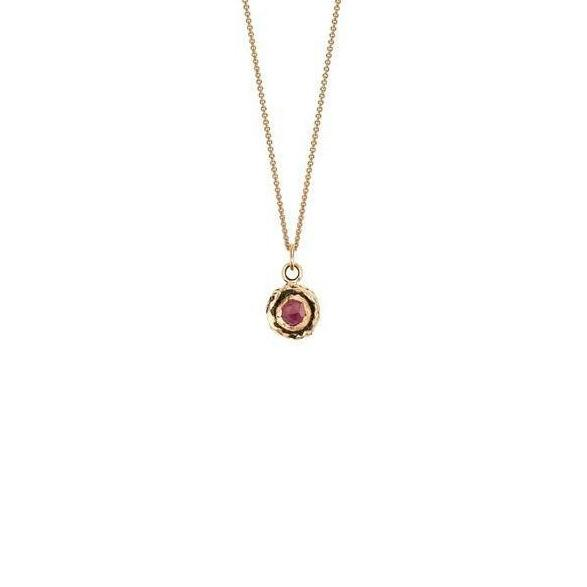 Pyrrha Necklace Small Ruby 14K Gold Faceted Stone - Fifth Avenue Jewellers