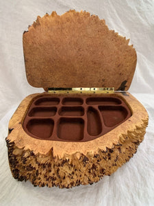 Robert Andrews Hand Carved Maple Burl Jewellery Box - Fifth Avenue Jewellers