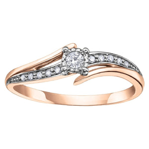 Rose Gold And Diamond Bypass Ring - Fifth Avenue Jewellers