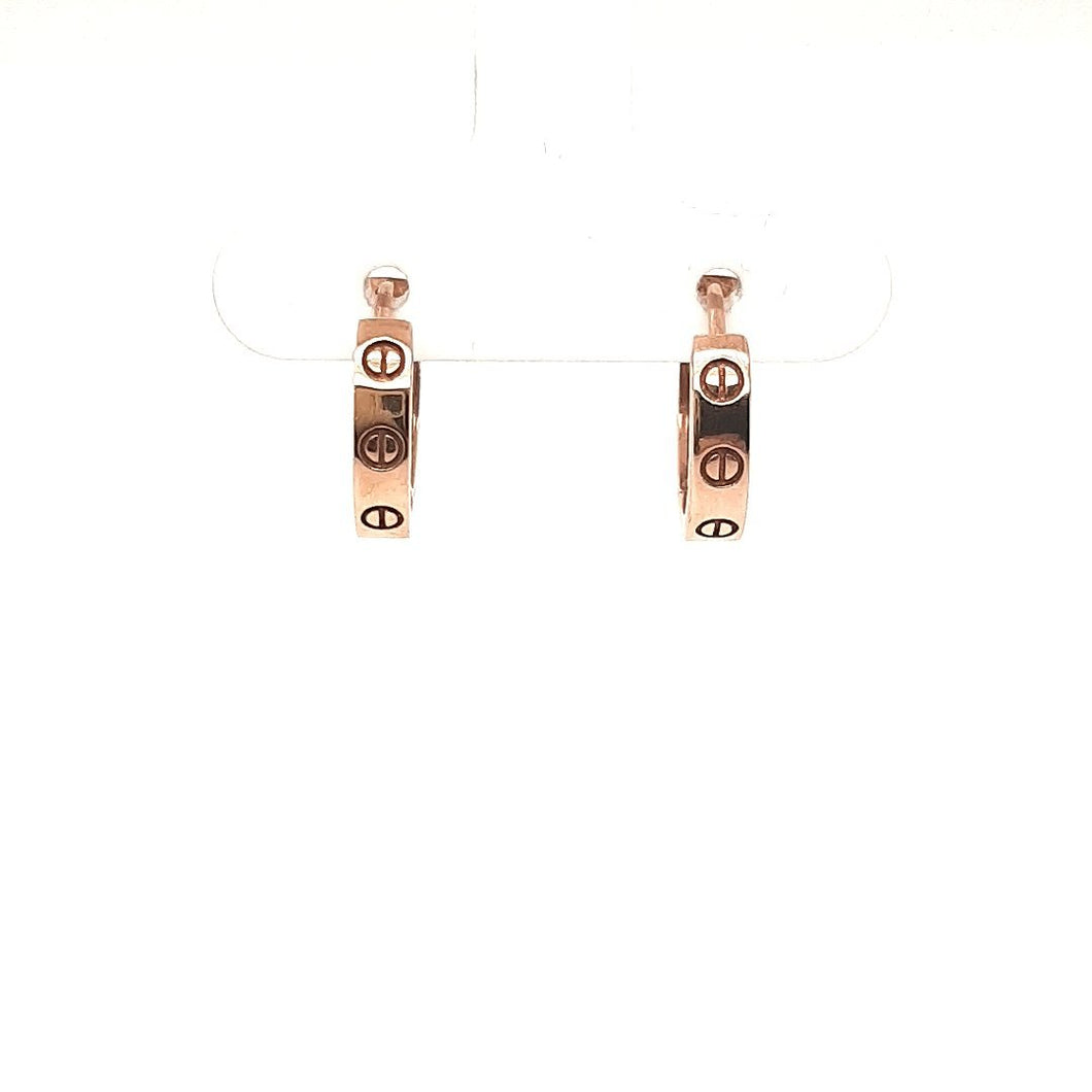 Rose Gold Huggies With Screw Detail - Fifth Avenue Jewellers