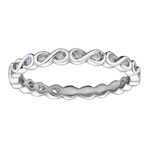 Round Diamond Infinity Stack Ring in White Gold - Fifth Avenue Jewellers