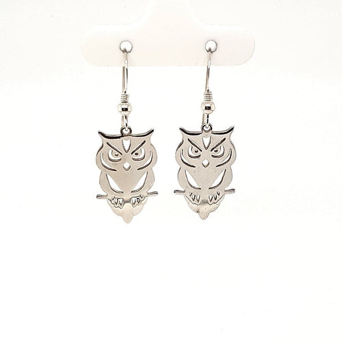 Silver Perched Owl Earrings - Fifth Avenue Jewellers