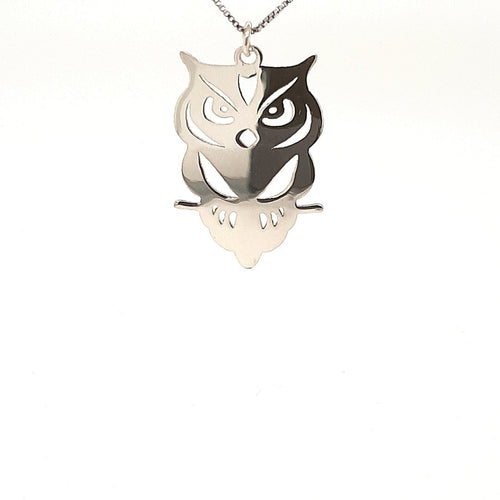 Silver Perched Owl Pendant - Fifth Avenue Jewellers
