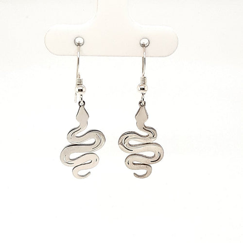 Silver Snake Drop Earrings - Fifth Avenue Jewellers