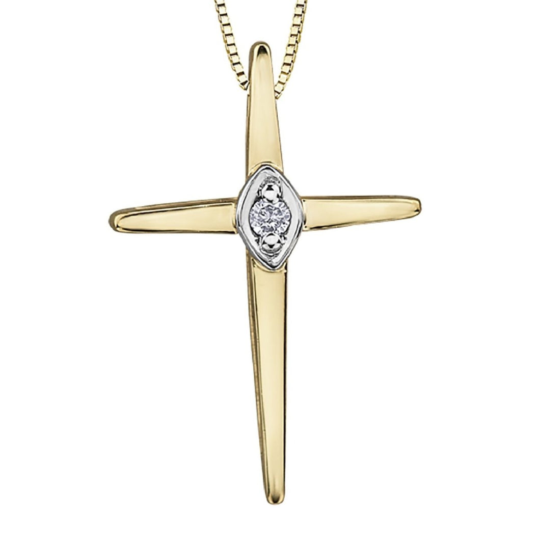 Sleek Cross Pendant in Yellow Gold - Fifth Avenue Jewellers
