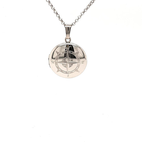 Small Compass Locket In Sterling Silver - Fifth Avenue Jewellers