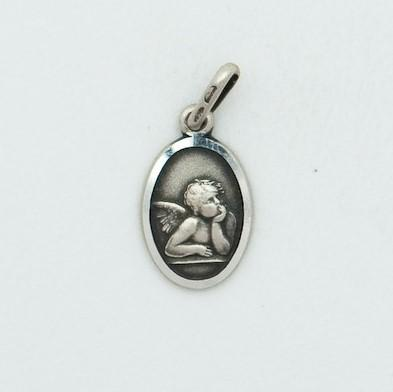 Small Oval Silver Guardian Angel - Fifth Avenue Jewellers
