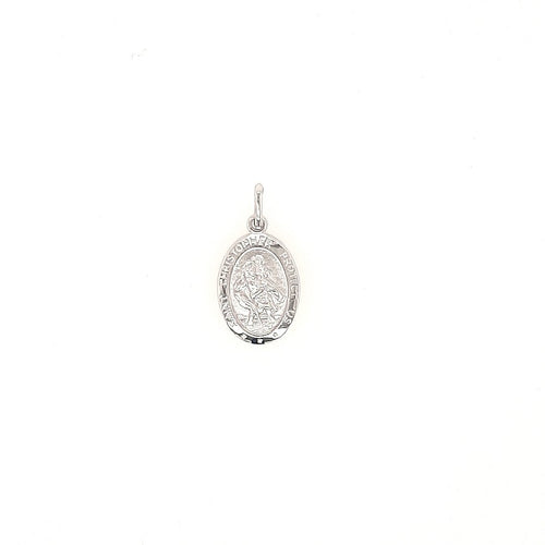 Small Oval St Christopher Medal In White Gold - Fifth Avenue Jewellers