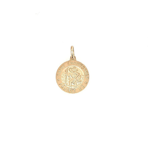 Small Round St Christopher Medal In Yellow Gold - Fifth Avenue Jewellers