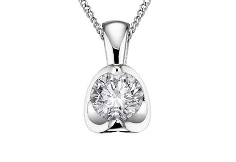 Solitaire Mezza Luna Diamond Pendant - Fifth Avenue Jewellers