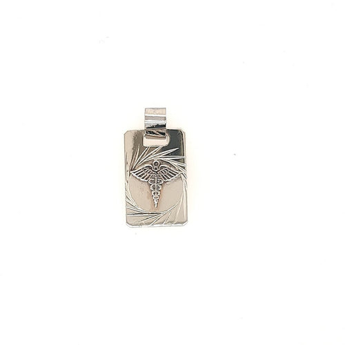 Square Medic Alert Pendant In White Gold - Fifth Avenue Jewellers