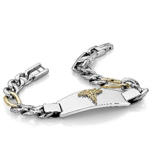 Steel Two Tone Figaro Link Medic Alert Bracelet SMAB55 - Fifth Avenue Jewellers