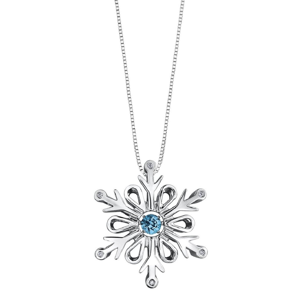 Sterling Silver Pulse Snowflake Pendant with Blue Topaz DD2961 - Fifth Avenue Jewellers