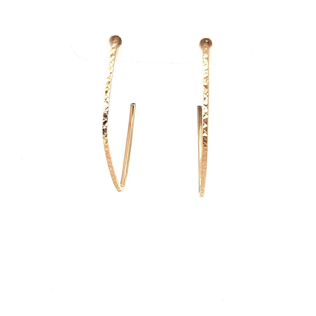 Textured Diamond Shaped Hoops - Fifth Avenue Jewellers