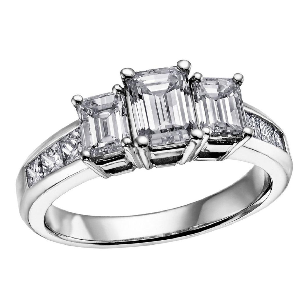 Three Stone Diamond Ring in White Gold - Fifth Avenue Jewellers