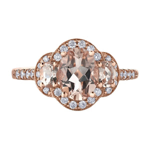 Three Stone Oval Morganite Ring with Diamonds - Fifth Avenue Jewellers