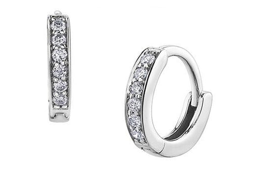Tiny Diamond Huggies in White Gold - Fifth Avenue Jewellers