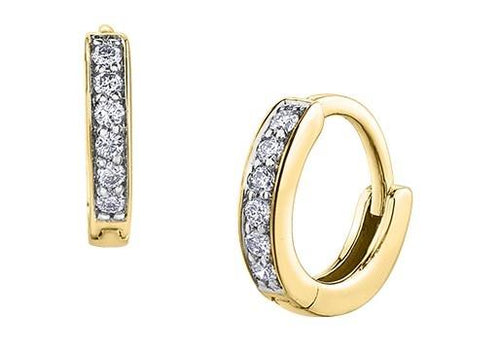 Tiny Diamond Huggies in Yellow Gold - Fifth Avenue Jewellers