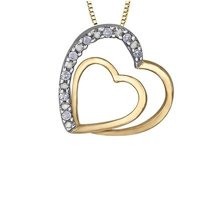 Twin Hearts Pendant With Diamond Accents - Fifth Avenue Jewellers