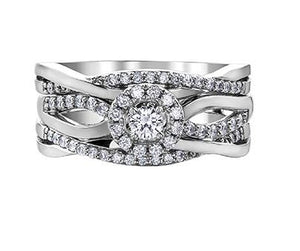 Twisted Double Band Diamond Ring in White Gold - Fifth Avenue Jewellers