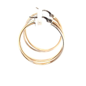 Two Toned Italian Gold Hoops - Fifth Avenue Jewellers