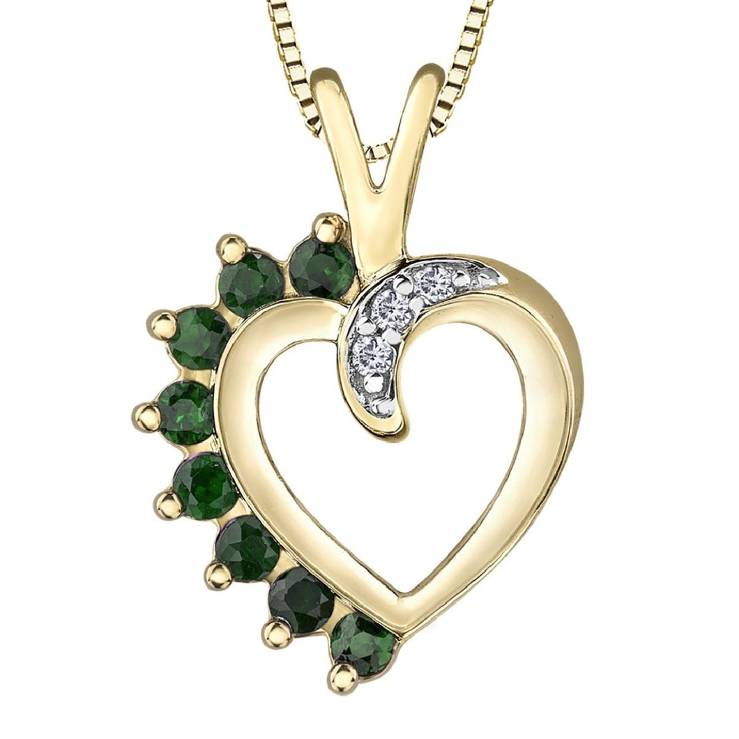Vintage Emerald Diamond Heart Necklace in Yellow Gold - Fifth Avenue Jewellers