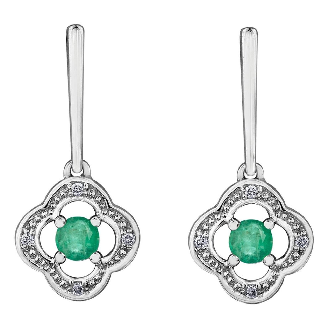 Vintage Emerald Drop Earrings With Diamond Accent - Fifth Avenue Jewellers
