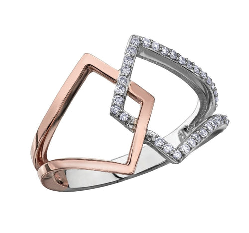 White And Rose Gold Diamond Ring - Fifth Avenue Jewellers