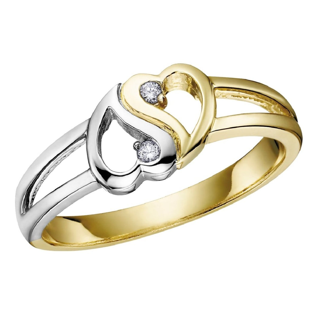 White And Yellow Gold Diamond Hearts Ring - Fifth Avenue Jewellers