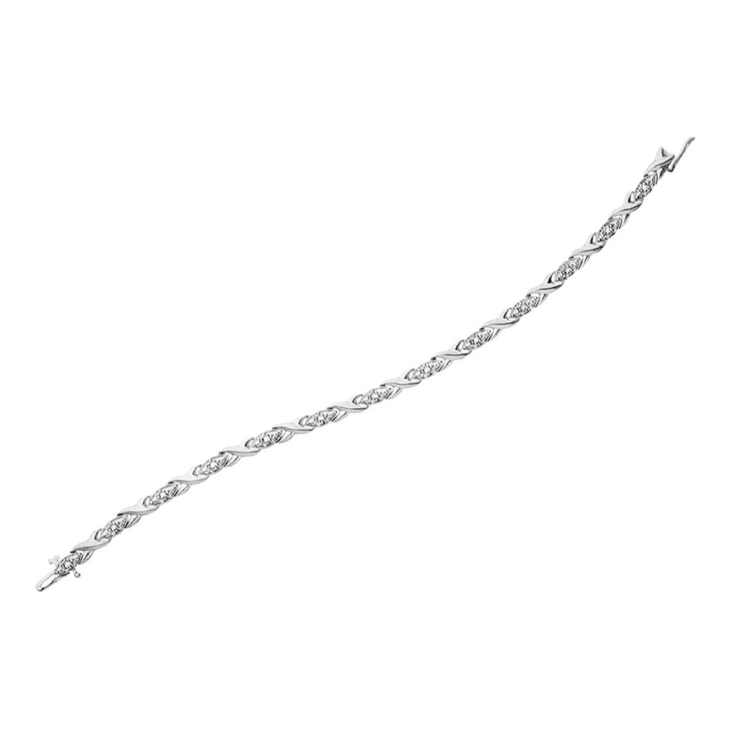White Gold And Diamond Braided Tennis Bracelet - Fifth Avenue Jewellers