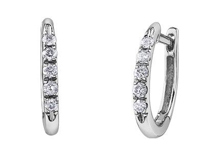 White Gold and Diamond Huggies - Fifth Avenue Jewellers
