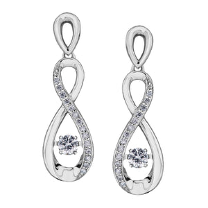White Gold And Diamond Pulse Drop Earrings - Fifth Avenue Jewellers