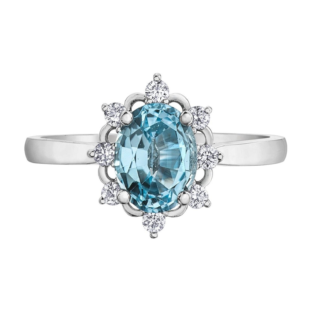 White Gold Aquamarine Ring ML634 - Fifth Avenue Jewellers