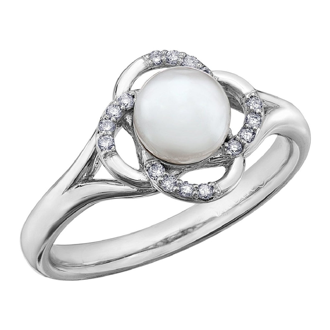 White Gold Pearl And Diamond Ring DD3077 - Fifth Avenue Jewellers