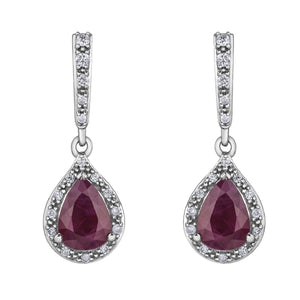 White Gold Ruby And Diamond Earrings DD7246 - Fifth Avenue Jewellers
