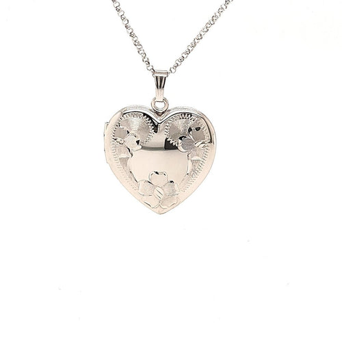 Wild Rose Heart Locket In Sterling Silver - Fifth Avenue Jewellers