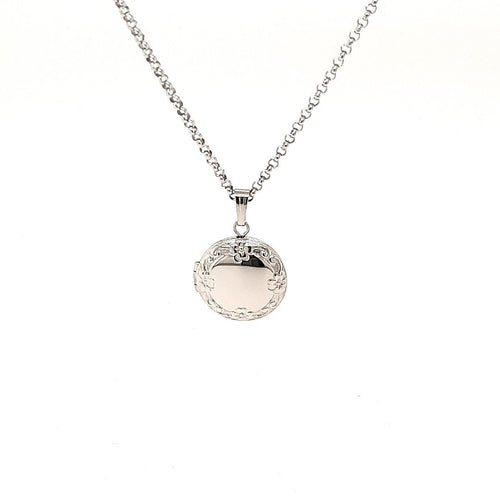 Wild Rose Wreath Locket In Sterling Silver - Fifth Avenue Jewellers
