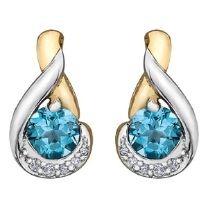 Yellow Gold And Blue Topaz Earrings - Fifth Avenue Jewellers