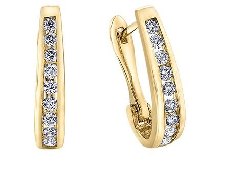 Yellow Gold Oval Diamond Hoops - Fifth Avenue Jewellers