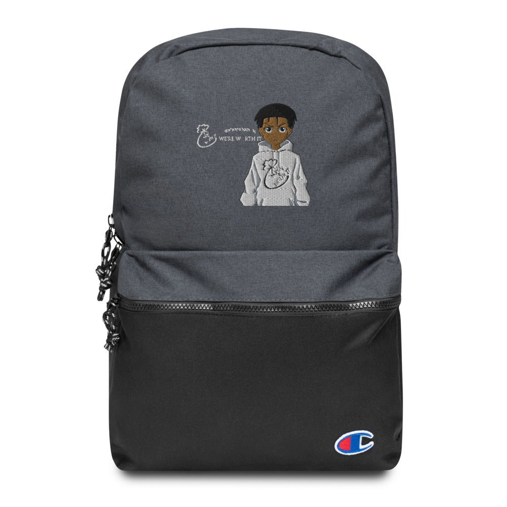 Embroidered NWN Worth It and Champion Collab Backpack